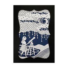 Stargazing Girl and Telescope Papercut