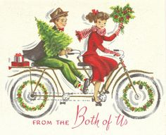bicycle built for two vintage christmas card. Christmas Couple, Old Fashioned Christmas, Christmas Past, Christmas Greetings, Christmas Holidays, Christmas Ideas, Christmas Christmas, Christmas Postcards, Christmas Train