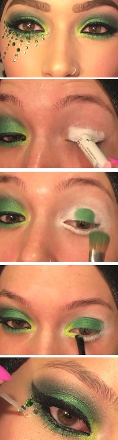 Swarovski Green Smokey Eye | Cute St Patricks Day Makeup Ideas Step by Step | Easy Eye Makeup Tutorials for Beginners