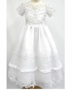 a317136cc285 White Beaded Lace Sheer Communion Dress Corsage Waist Back, Satin Top and  Organza Skirt