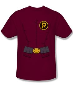 02a57a89475a8 Official Robin Utility Belt Costume DC Comics The New 52 Logo Adult T-shirt  Top