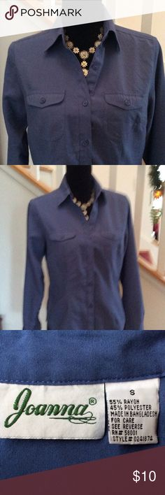 Great blue top, Size S Pretty long sleeve button down in very good condition, 55% Rayon/45% Polyester, Size S Joanna Tops Button Down Shirts