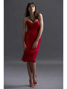 Chiffon Strapless Sweetheart Draped Bodice Knee-Length Bridesmaid Dress