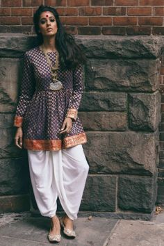 Dhoti Pants and Peplum Top Idea :- Wanderlust Fashion . Indian Fashion Trends, India Fashion, Ethnic Fashion, Look Fashion, Fashion Outfits, Fashion Men, Fashion Styles, Salwar Designs, Blouse Designs