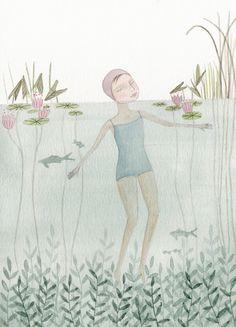Swimming Watercolor and pencil on paper, 2013 By Julianna Swaney
