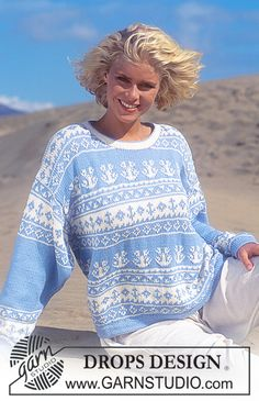 """DROPS 33-19 - Drops sweater with pattern repeats in """"Muskat"""" - Free pattern by DROPS Design"""