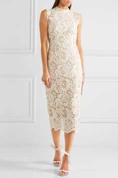 White guipure lace Zip fastening along back Fabric1: 100% viscose; fabric2: 100% nylon; trim: 92% nylon, 8% Lycra; lining: 94% polyester, 6% elastane Dry clean Imported