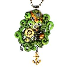 Steampunk Octopus Necklace Lime Green Polymer Clay by Freeheart1