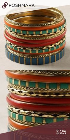 🌟PM Editor Pick 🌟 ANTHRO Enameled Bracelet Set Worn once - gorgeous set of 13 bangles to mix and match. Anthropologie Jewelry Bracelets