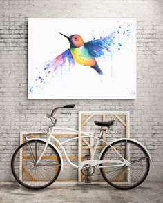 Colorful Hummingbird watercolor Print by WorksinColor on Etsy