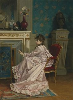"""At the Corner of the Fire"" by Auguste Toulmouche, 1878"