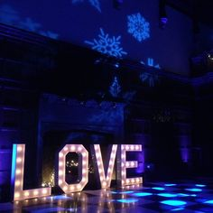 LOVE letter hire and gobo projection ice blue up lighting for winter wedding at Hengrave Hall Hall Lighting, Letter, Neon Signs, Ice, Instagram Posts, Wedding, Valentines Day Weddings, Mariage, Ice Cream