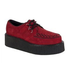 CREEPER-402 Black Suede Creeper Shoes I want  they're actually burgundy ! I don't want the red ones