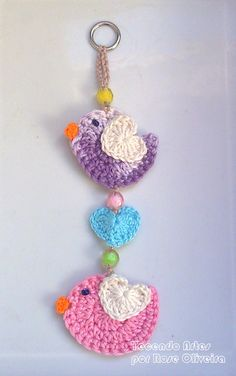 Tecendo Artes em Crochet: Enfeites de parede - Passarinhos Cute Love!