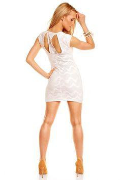 Śnieżnobiała tunika sukienka z siateczką