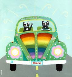 Rainbow Hippies VW Peace Bug Original Cat Folk Art