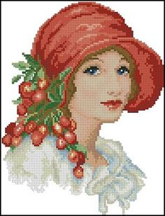 Hand Embroidery Art, Cross Stitch Embroidery, Cross Stitch Patterns, Cross Stitch Landscape, Victorian Women, Hats For Women, Projects To Try, Creations, Tapestry