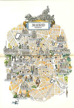 Map of Madrid Book Illustration City Map Art by by HildaLea