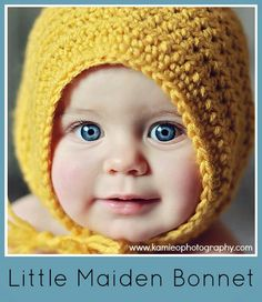 Crochet this adorable Little Maiden Bonnet by Danyel Pink with Lion Brand Vanna's Choice! crochet baby bonnet Free crochet pattern on Ravelry. Diy Tricot Crochet, Crochet Baby Bonnet, Crochet Gratis, Crochet Beanie, Cute Crochet, Crochet For Kids, Knitted Hats, Baby Bonnet Pattern Free, Easy Crochet Baby Hat