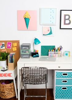 How to make a functional home office space. I love how theres so many different storage ideas, great for small spaces