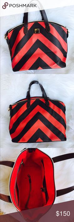 Dooney And Bourke Stripe Satchel Handbag This modern dome shape like stripe satchel bag by Dooney and Bourke is a fun and a must have additional bag to your closet. Gorgeous red lining with multiple interior pockets and upper zipper closure. Accented with gold tone hardware and bottom feet. Dual sturdy dark brown handle and trim on the side. Last photo shown a scratch that barely noticeable. It also has ink marks on the lining. In excellent used condition. Reasonable offers will be…