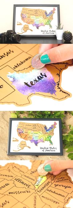 Scratch your travels with this gorgeous original watercolor USA map. Bright, bold & interactive wall art that will fit any 12x18 size frame. Use a coin to scratch off the foil to reveal the bright colors of the states you've visited http://seattlestravelshop.com/shop/united-states-watercolor-scratch-map/  United States Få mere information på vores websted   http://storelatina.com/usa/travelling #EUA #traveling #ferias #travelunitedstates