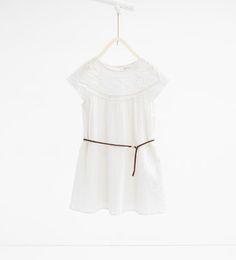 Image 1 of Dress with crochet yoke and belt from Zara