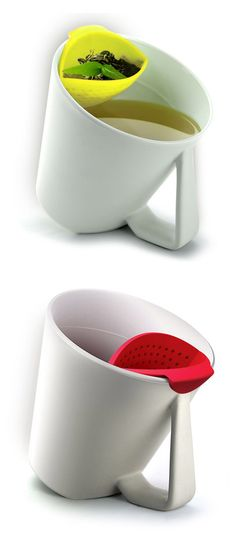 Tea Tilt Mug - Once the tea is done seeping, tilt it to lift the leaves up out of the water.