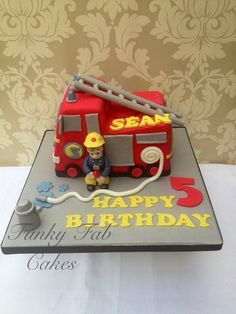 Fire Engine cake Cake by funkyfabcakes