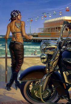 """Daytona Ink"" - Limited Editions - All Artwork - David Uhl Motorcycle Posters, Motorcycle Art, Bike Art, David Mann Art, Pin Up, Studios, Harley Davidson Art, Rockabilly Cars, Automotive Art"