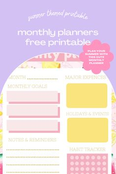 Summer-Themed Printable Monthly Planners {Free Printables} Planner Inserts, Planner Pages, Fun Outdoor Activities, Note Reminder, Monthly Planner Printable, Free Calendar, Cute Planner, Fitness Planner, Love Is Free