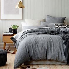 Home Republic Vintage Washed Bed Linen - Indigo, Queen Quilt Cover $190, Pillowcase $76
