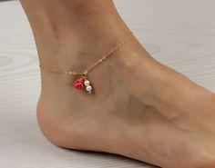 Pearl ankle bracelet / Coral anklet / Gold filled anklet / Coral rose bracelet / Gold anklet / Flower anklet/ Spring Wedding | Panacea