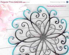 SPRING SALE Large Metal Wall Art / Bedroom Wall Decor / Turquoise / Black /Gray Home Decor