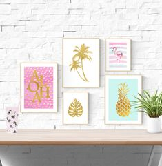 Excited to share this item from my shop: 5 Tropical Prints Baby Playroom, Playroom Decor, Nursery Wall Decor, Baby Room, Pineapple Room Decor, Pineapple Palm Tree, Flamingo Nursery, Gold Nursery, Tropical Girl