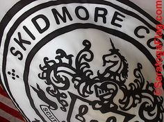 """The Official """"Skidmore College"""" Seal on the Official Flag.  Saratoga Springs, New York.  Made in USA."""