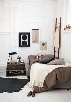 A beige,brown and white toned bedroom #InteriorDesign