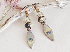 Nkem.Peacock Feather CeramicRustic lampworkGlassVintage