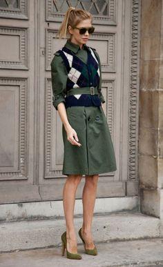 military inspired Elena Perminova. Love how originally layered! L.E.