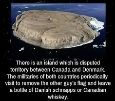 Hans Island, disputed territory between Canada & Denmark. The militaries of both countries periodically visit to remove the other guy's flag and leave a bottle of Danish schnapps or Canadian whisky. Canadian Things, I Am Canadian, Canadian Memes, Canadian Facts, Canadian Humour, Canadian History, Meanwhile In Canada, The Other Guys, Wtf Fun Facts