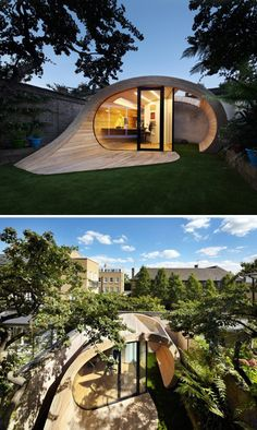 """""""Shoffice (Shed + Office)"""": A sweeping elliptical pavilion provides both garden storage space and a home office in the backyard of this residence in St John's Wood, London, England. 