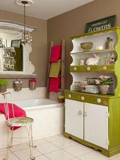 badezimmer gestaltungsideen badmöbel farbig grüner schrank rosa akzente