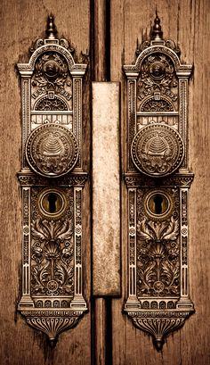 Salt Lake Temple elaborately carved brass escutcheon (doorplate and doorknob)
