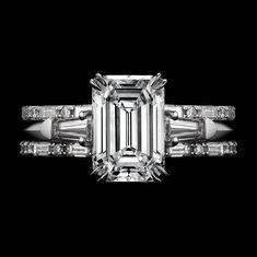 Alexandra Mor Three Ring Emerald Cut Diamond and Baguette Engagement Ring | 1stdibs.com