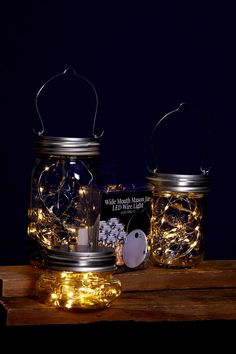 LED Mason Jar Lights -- the lid comes with lights and a hanger and works on any wide mouthed mason jar.