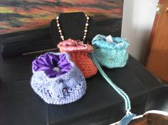 Small drawstring bags handknitted Assorted colors by JustAskJackie, $15.00