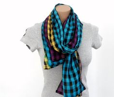 """this years's trend is """"plaid"""" great scarf! Colorful Plaid Scarf Blue Yellow Purple Cotton by fizzaccessory, $14.00"""