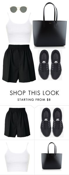 """""""Untitled #3204"""" by ericacavaco12 ❤ liked on Polyvore featuring Acne Studios, NIKE, Topshop, Yves Saint Laurent and Ray-Ban"""