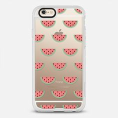 Cute Little Pink and Green Fruity Watermelons Pattern on Transparent Background