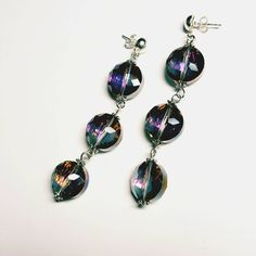 Only $6.99! - SALE Sexy Glam/Ultra Shine Iridescent & Metallic Aurora Borealis Prism Hues Faceted Glass Beaded 3 Tier Drop Studded Earrings FREE USA SHIPPING https://www.etsy.com/listing/286458561/sale-sexy-glamultra-shine-iridescent